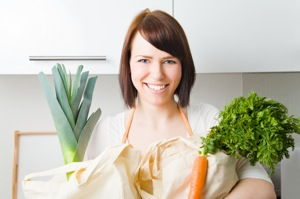 Woman With Vegetables - charlotte weight loss programs