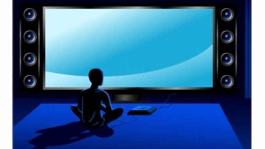 Person Sitting In Blue Room -