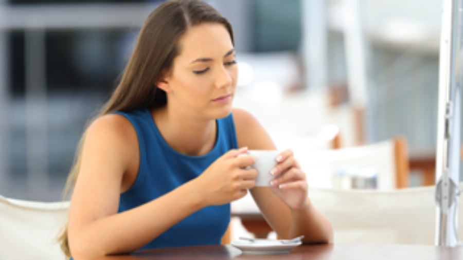 Tired Woman Drinking Coffee - charlotte diabetes testing